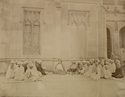 Pandit Bapudeva Sastri, Professor of Astronomy, teaching a class at Queen's College, Varanasi (Benares)